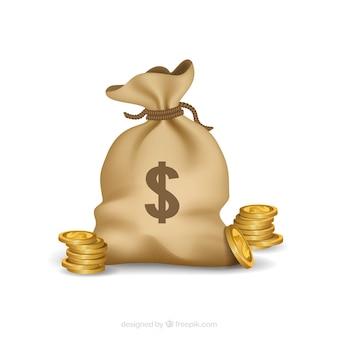 Закрытый мешок денег и монет