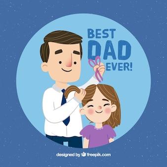 素敵な父のシーンの背景は、彼の娘を梳く