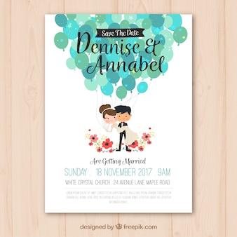 素敵なカップルと結婚式の招待状
