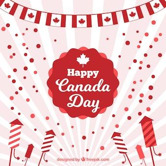 平らなデザインの太陽の日カナダの日の背景