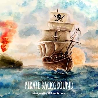 水彩の海賊の背景