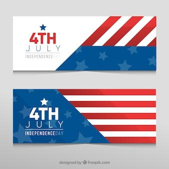 День независимости - баннеры с абстрактным американским флагом