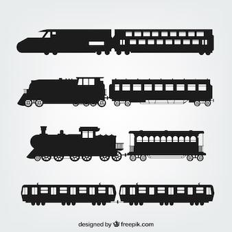 Различные силуэты поездов
