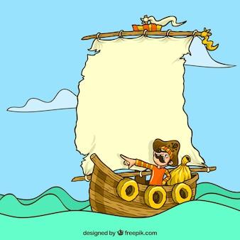 Фон пирата на деревянном корабле