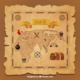 Винтажная карта сокровищ в реалистичном дизайне