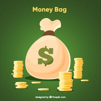 Зеленый фон монеты мешок