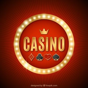 輝くカジノのサインと赤い背景