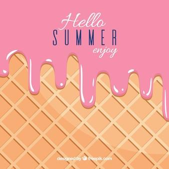 おいしい溶かしたイチゴのアイスクリームと夏の背景