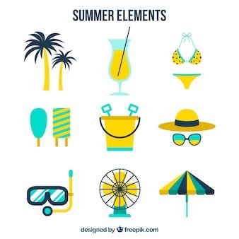 黄色い細部の夏のアイテムの選択