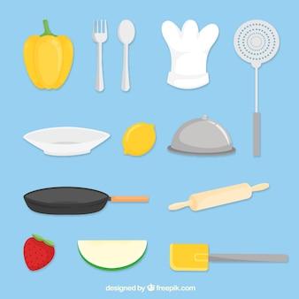 Разнообразие плоских поваренных предметов