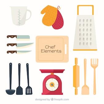 Ассортимент элементов шеф-повара в плоском дизайне