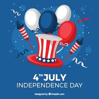 独立記念日の風船を持つ党の背景