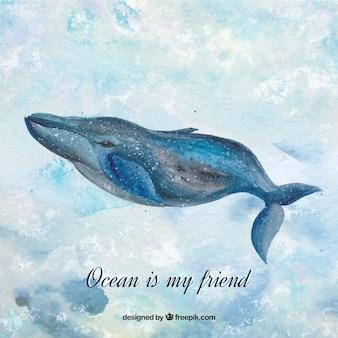 ウォーターカラークジラの背景に「海は私の友人です。