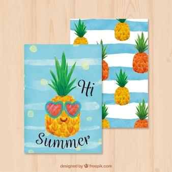 素敵なパイナップルと夏の水彩カード
