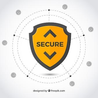 フラットデザインのセキュリティ背景