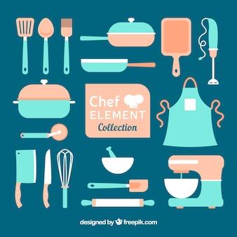 ヴィンテージキッチンの要素のコレクション