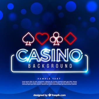青い光沢のあるカジノの背景とシンボル