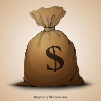 Ручной обращается большой мешок денег