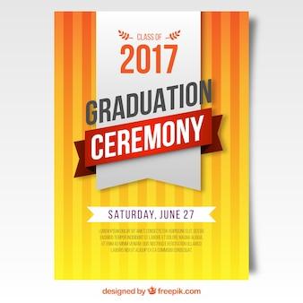 オレンジ色の卒業式ポスター