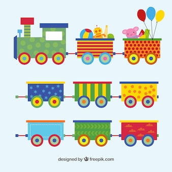 Игрушечный поезд установлен в плоском дизайне