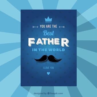 Синяя поздравительная открытка на день отца