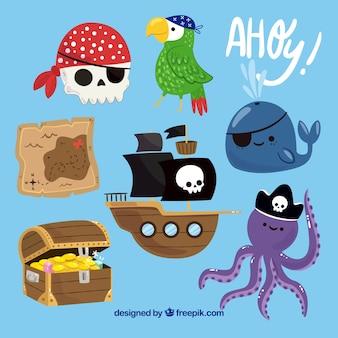 装飾的な海賊アイテムのかわいいパック