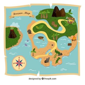 Карта сокровищ острова с формой черепа