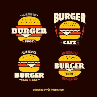 赤い細部のバーガーのロゴのパック