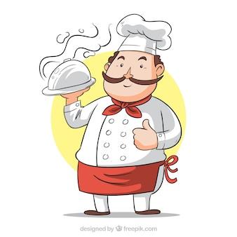 手で描いたトレイのある料理人の背景