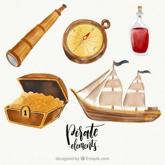 ボートパックと海賊の水彩要素