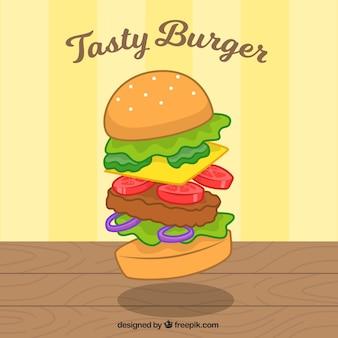 Вкусный фон с гамбургером