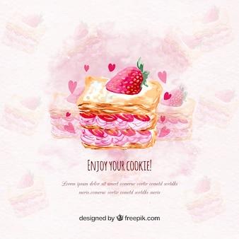 Акварельный фон с вкусным клубничным пирогом