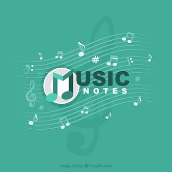 Музыкальные ноты на зеленом фоне