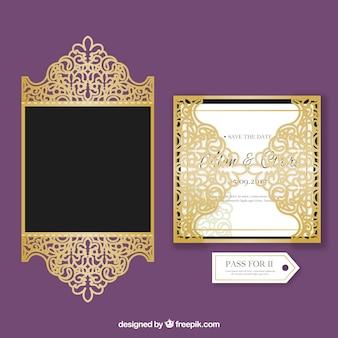 エレガントな黄金の結婚式の招待状
