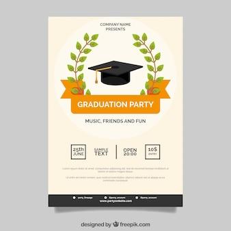 オレンジのリボンの卒業パーティーのポスター