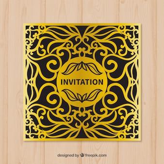 黄金の装飾的な招待状