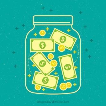 紙幣と硬貨と瓶の緑色の背景