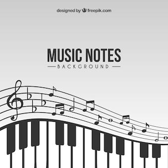 Фон музыкальных нот с пианино