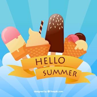 こんにちは、アイスクリームの夏の背景