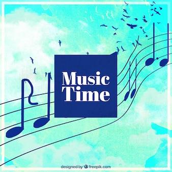 Акварельный фон с музыкальными нотами и птицами