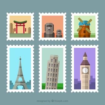 Декоративные городские марки в плоском дизайне