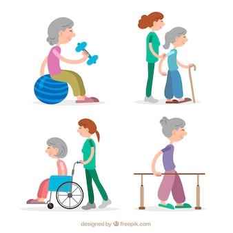 高齢者の理学療法練習をする女性