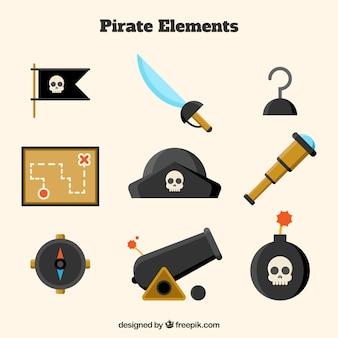 平らなデザインの他の要素を持つ海賊帽子