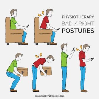 正しい姿勢と不正確な姿勢の収集