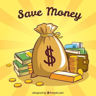 お金の袋と財布の黄色の背景