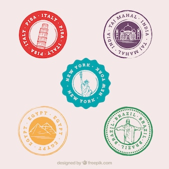 Разнообразие цветных городских марок