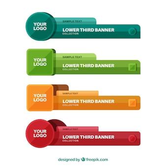 Набор цветных нижних третей в плоском дизайне