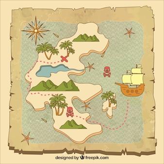 ヴィンテージ手描きの宝の地図の背景