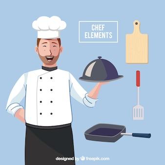 Счастливый шеф-повар с множеством посуды