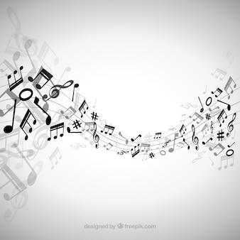 Элегантный фон с черными музыкальными нотами